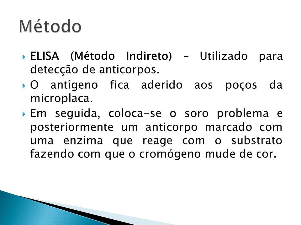 Método ELISA (Método Indireto) – Utilizado para detecção de anticorpos. O antígeno fica aderido aos poços da microplaca.