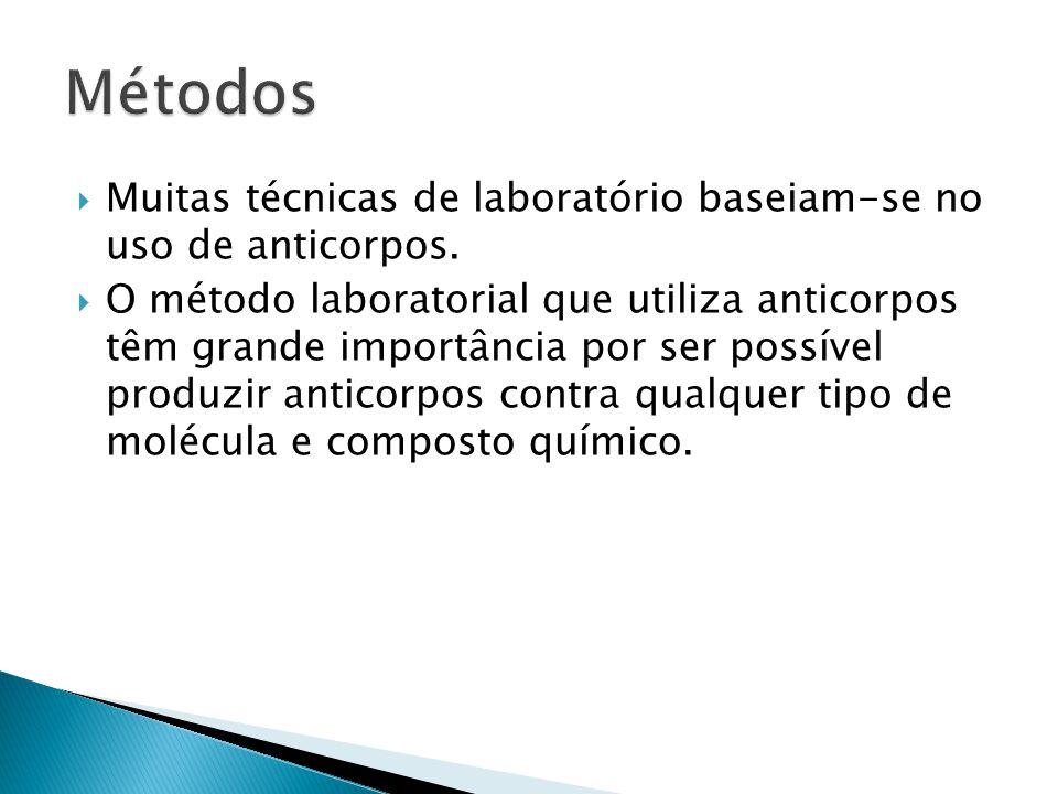Métodos Muitas técnicas de laboratório baseiam-se no uso de anticorpos.