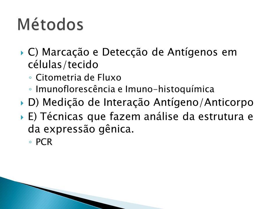 Métodos C) Marcação e Detecção de Antígenos em células/tecido