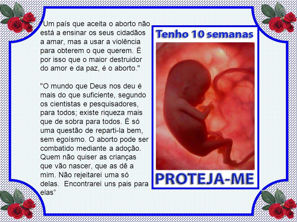 Um país que aceita o aborto não está a ensinar os seus cidadãos a amar, mas a usar a violência para obterem o que querem.