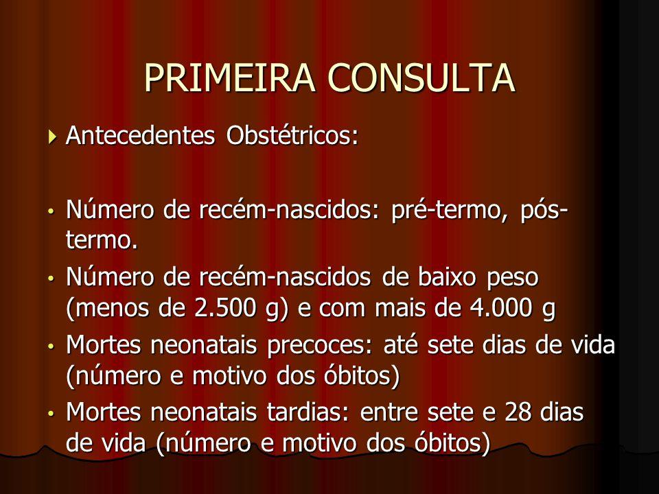 PRIMEIRA CONSULTA Antecedentes Obstétricos: