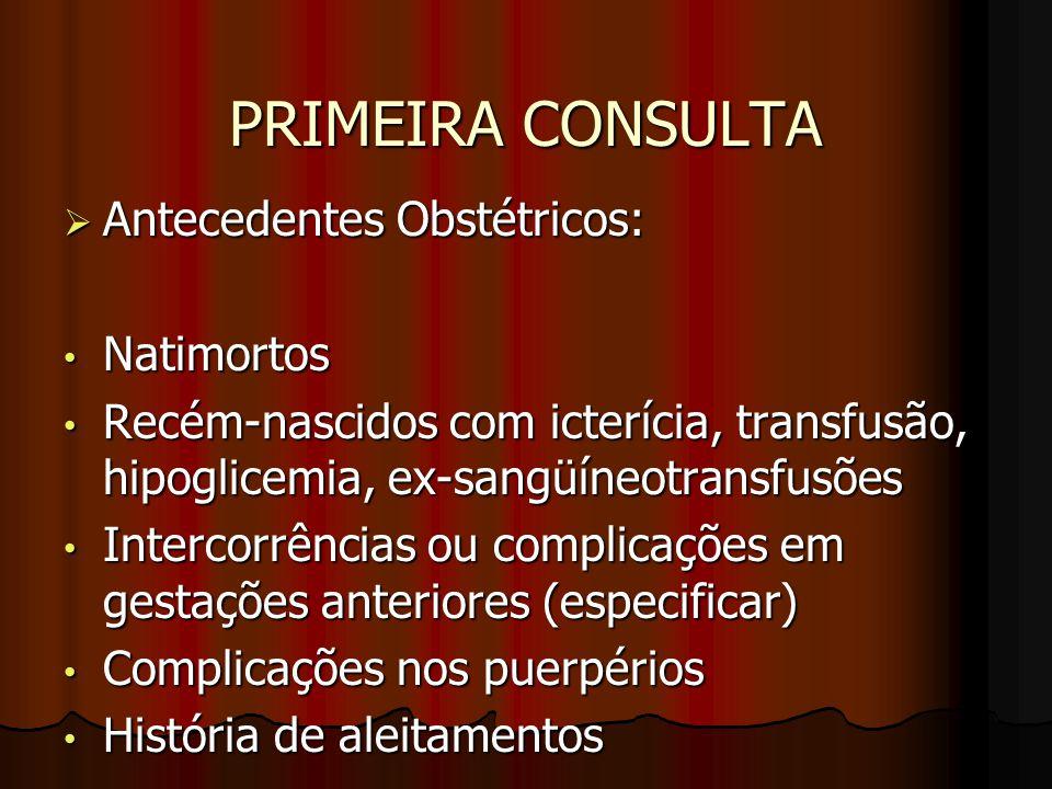 PRIMEIRA CONSULTA Antecedentes Obstétricos: Natimortos