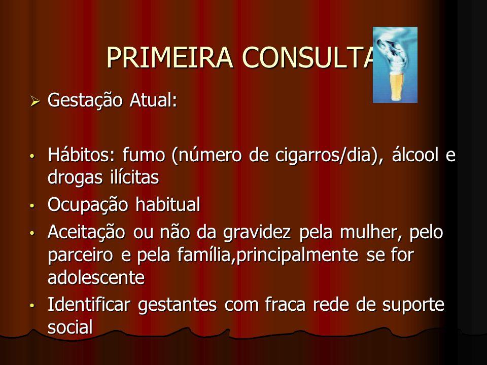 PRIMEIRA CONSULTA Gestação Atual: