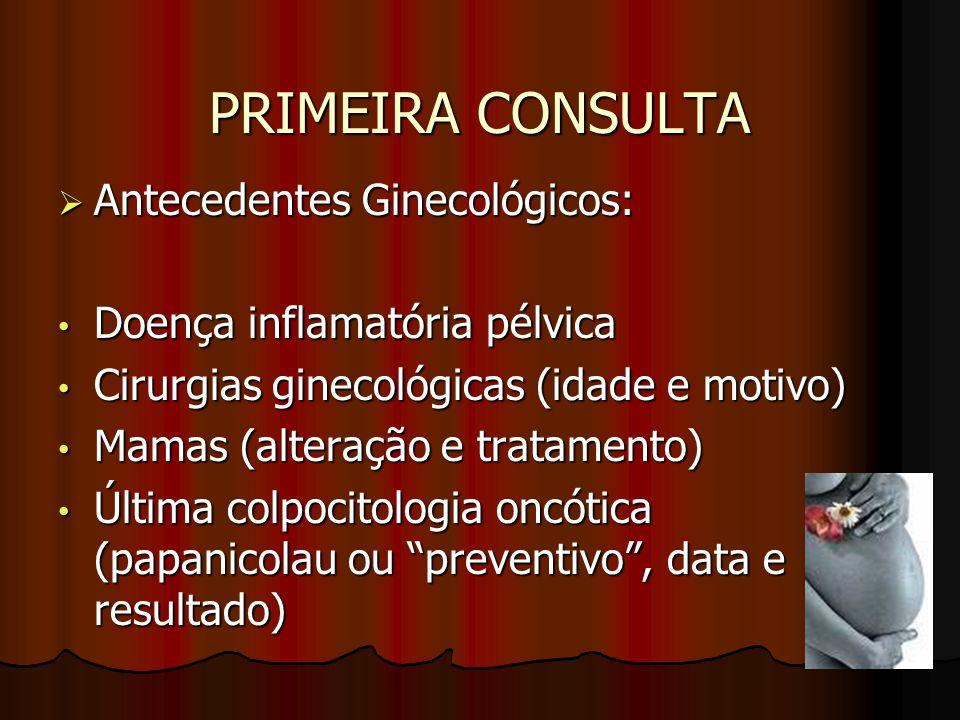 PRIMEIRA CONSULTA Antecedentes Ginecológicos: