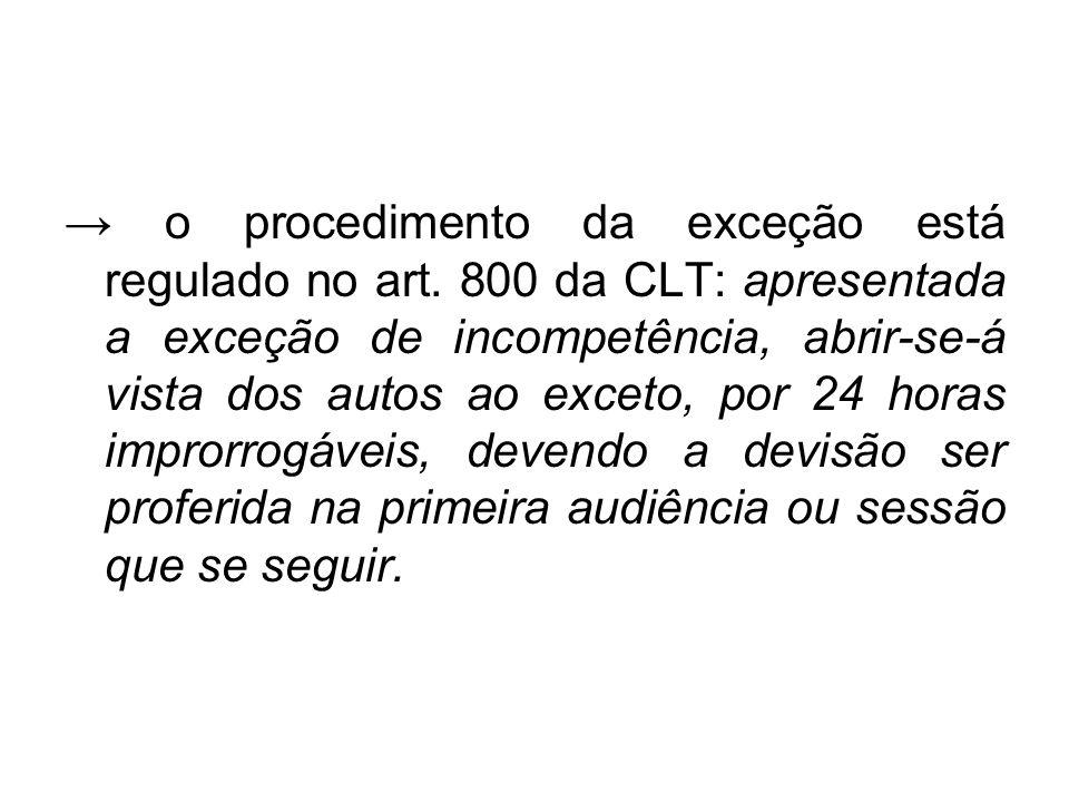 → o procedimento da exceção está regulado no art