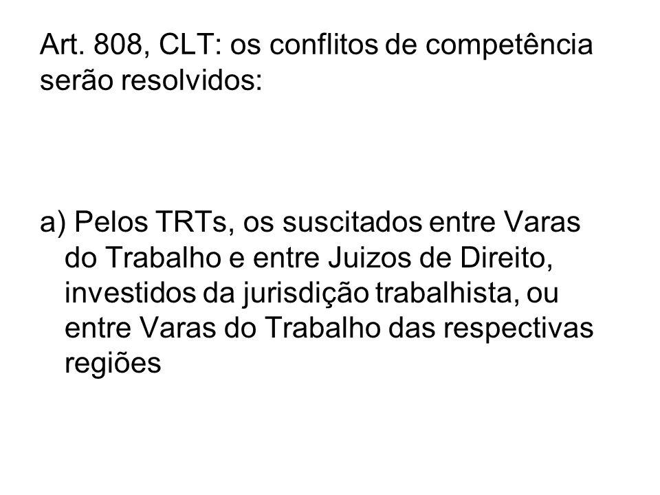 Art. 808, CLT: os conflitos de competência serão resolvidos: