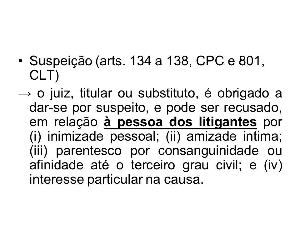 Suspeição (arts. 134 a 138, CPC e 801, CLT)