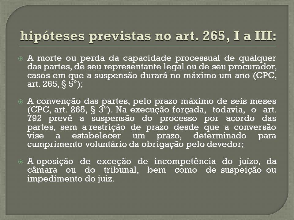 hipóteses previstas no art. 265, I a III:
