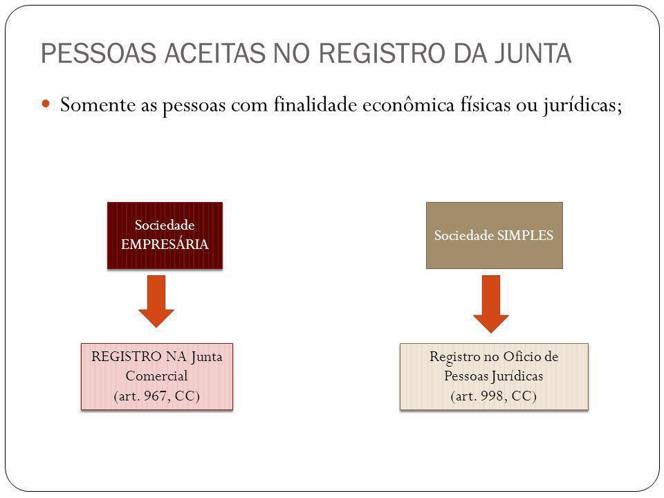 PESSOAS ACEITAS NO REGISTRO DA JUNTA