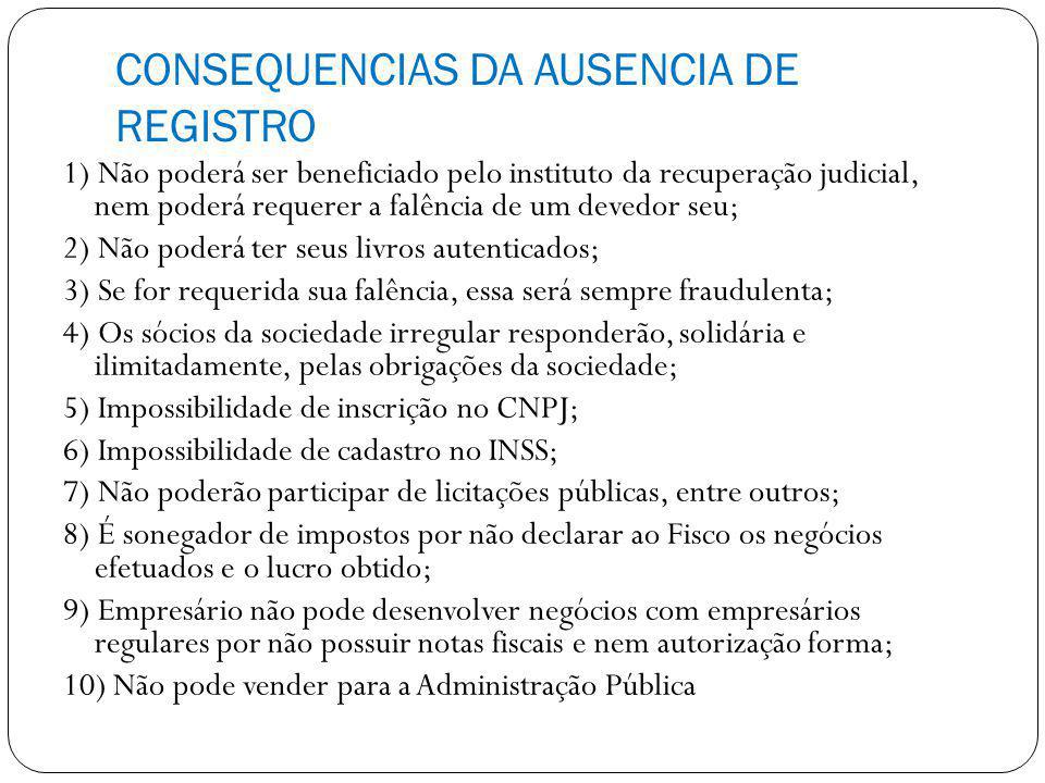 CONSEQUENCIAS DA AUSENCIA DE REGISTRO