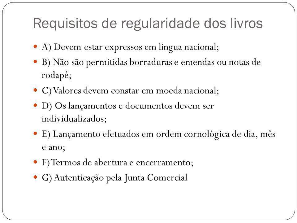 Requisitos de regularidade dos livros