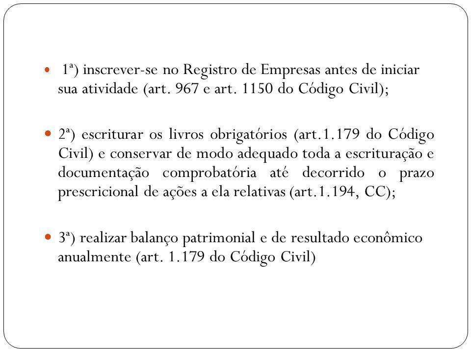 1ª) inscrever-se no Registro de Empresas antes de iniciar sua atividade (art. 967 e art. 1150 do Código Civil);