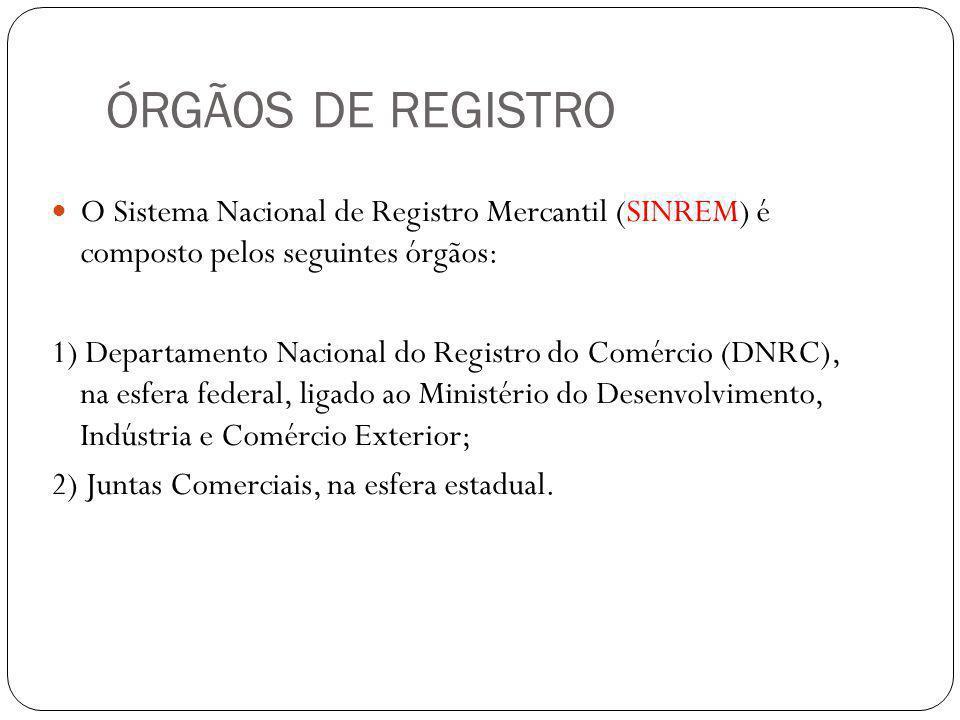 ÓRGÃOS DE REGISTRO O Sistema Nacional de Registro Mercantil (SINREM) é composto pelos seguintes órgãos: