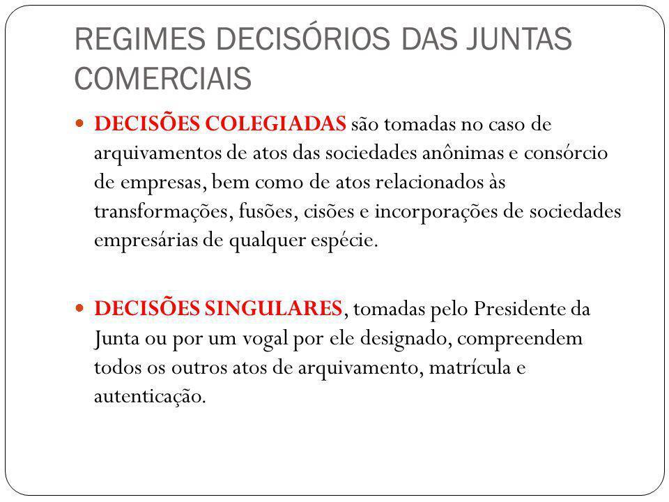 REGIMES DECISÓRIOS DAS JUNTAS COMERCIAIS