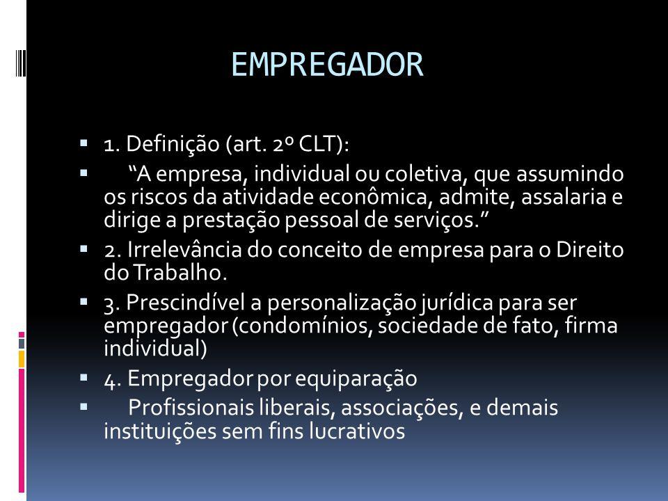 EMPREGADOR 1. Definição (art. 2º CLT):