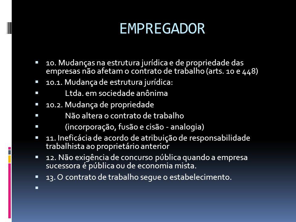 EMPREGADOR 10. Mudanças na estrutura jurídica e de propriedade das empresas não afetam o contrato de trabalho (arts. 10 e 448)