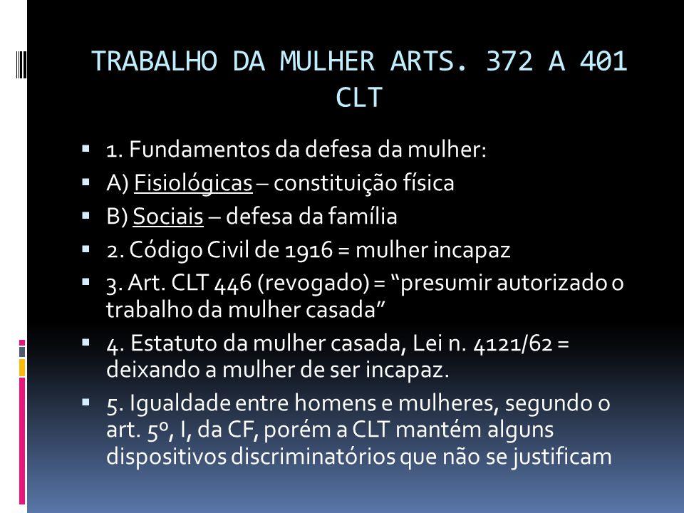 TRABALHO DA MULHER ARTS. 372 A 401 CLT