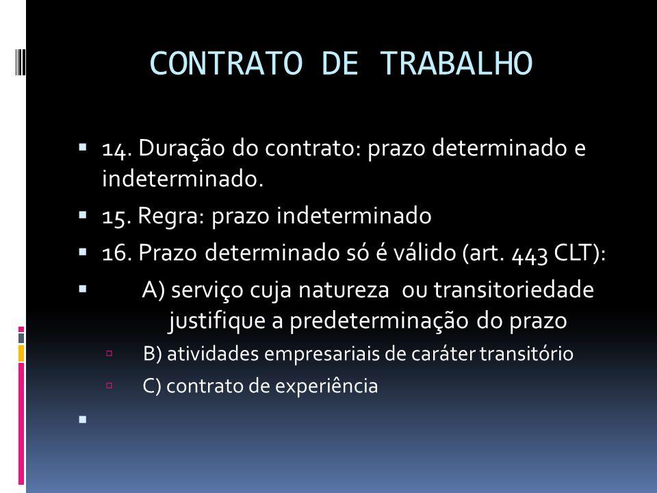 CONTRATO DE TRABALHO 14. Duração do contrato: prazo determinado e indeterminado. 15. Regra: prazo indeterminado.