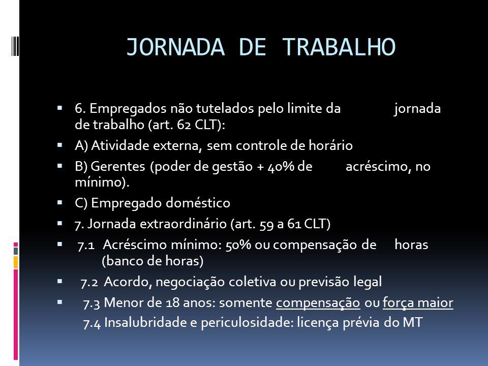 JORNADA DE TRABALHO 6. Empregados não tutelados pelo limite da jornada de trabalho (art. 62 CLT):