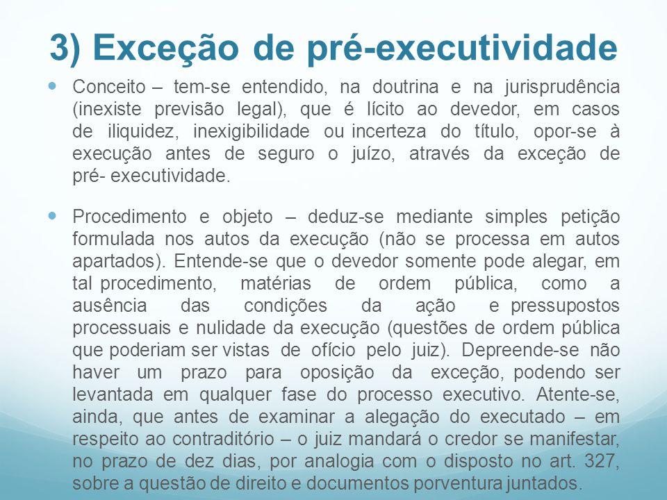 3) Exceção de pré-executividade