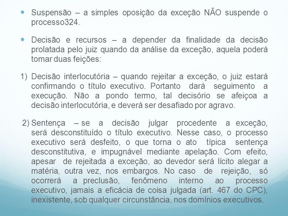 Suspensão – a simples oposição da exceção NÃO suspende o processo324.