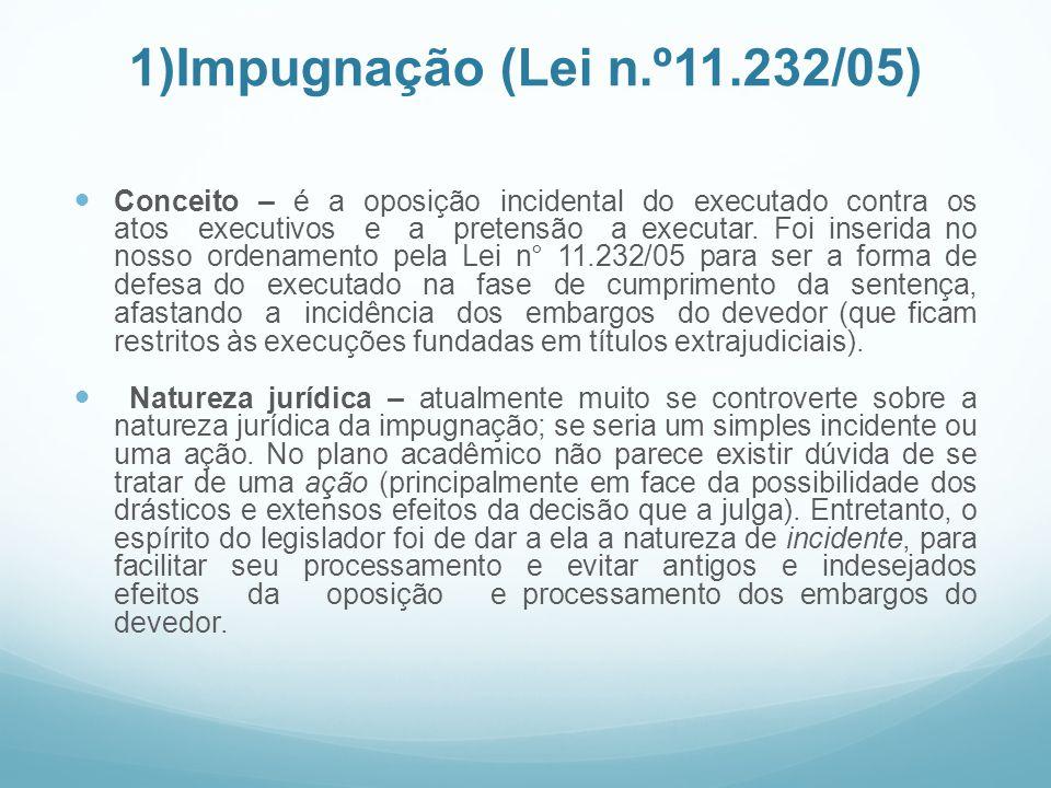 1)Impugnação (Lei n.º11.232/05)