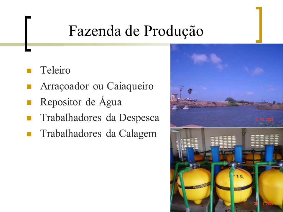 Fazenda de Produção Teleiro Arraçoador ou Caiaqueiro Repositor de Água