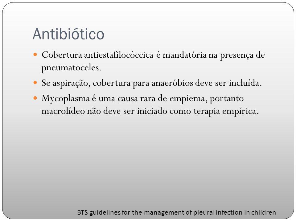 Antibiótico Cobertura antiestafilocóccica é mandatória na presença de pneumatoceles. Se aspiração, cobertura para anaeróbios deve ser incluída.
