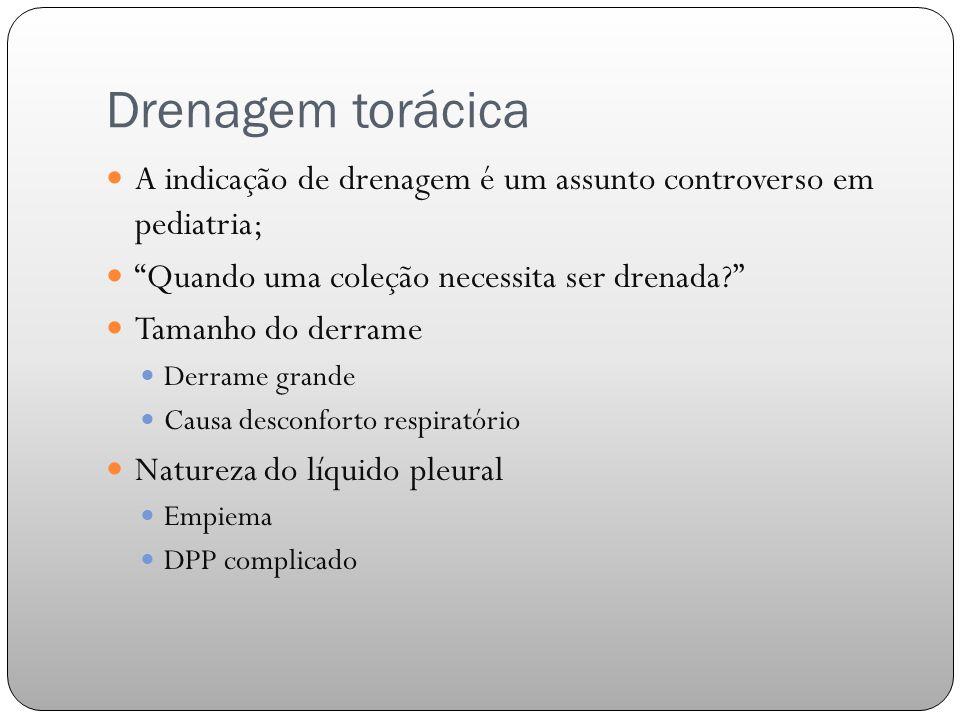 Drenagem torácica A indicação de drenagem é um assunto controverso em pediatria; Quando uma coleção necessita ser drenada