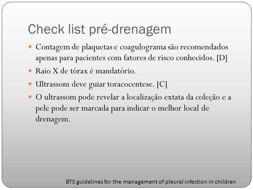 Check list pré-drenagem