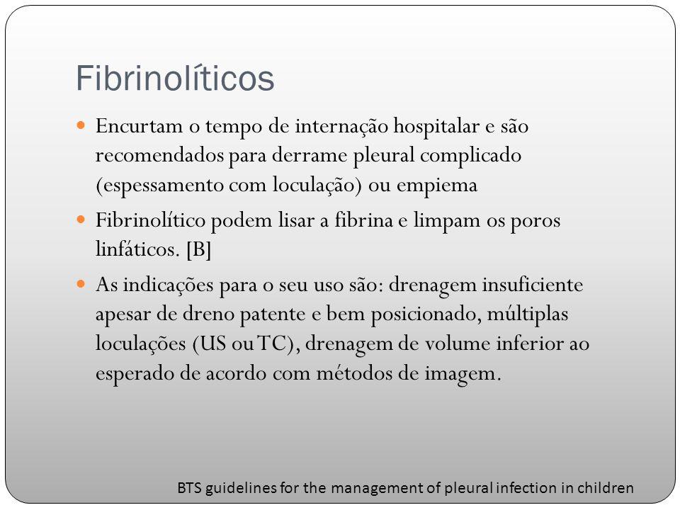 Fibrinolíticos Encurtam o tempo de internação hospitalar e são recomendados para derrame pleural complicado (espessamento com loculação) ou empiema.
