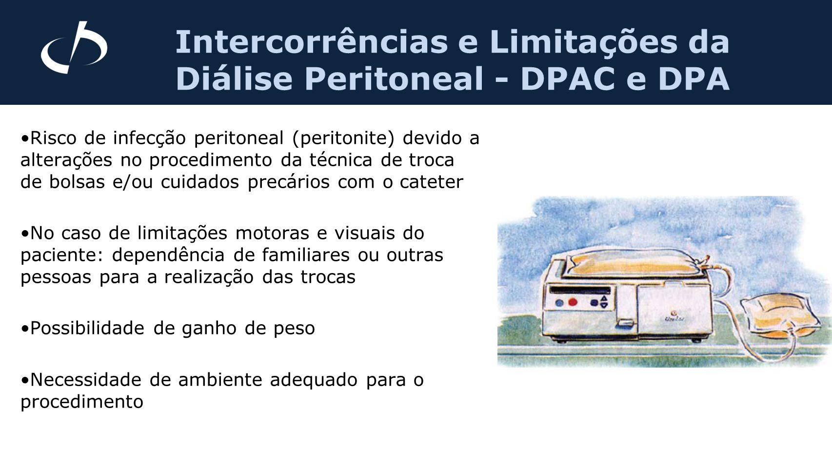 Intercorrências e Limitações da Diálise Peritoneal - DPAC e DPA