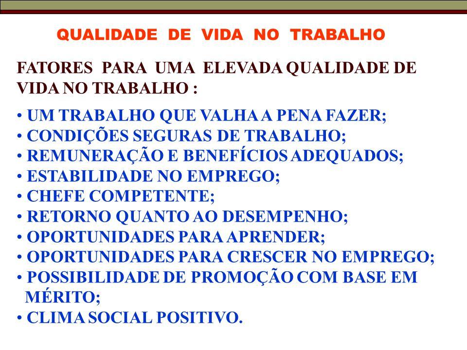 FATORES PARA UMA ELEVADA QUALIDADE DE VIDA NO TRABALHO :