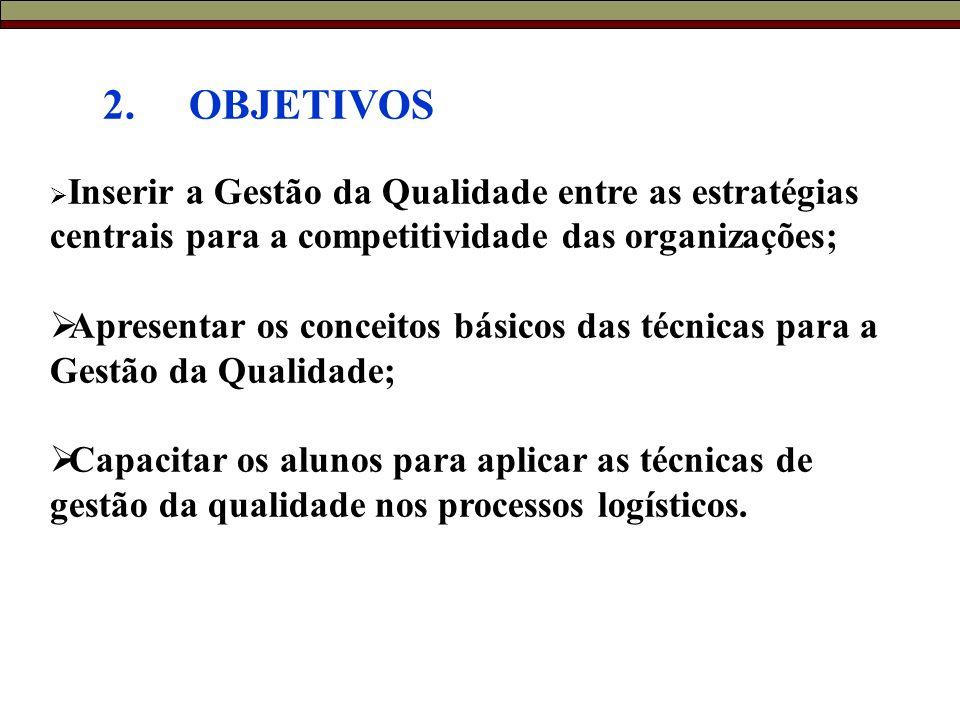 2. OBJETIVOS Inserir a Gestão da Qualidade entre as estratégias centrais para a competitividade das organizações;
