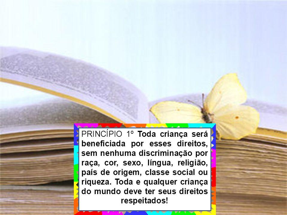 PRINCÍPIO 1º Toda criança será beneficiada por esses direitos, sem nenhuma discriminação por raça, cor, sexo, língua, religião, país de origem, classe social ou riqueza.
