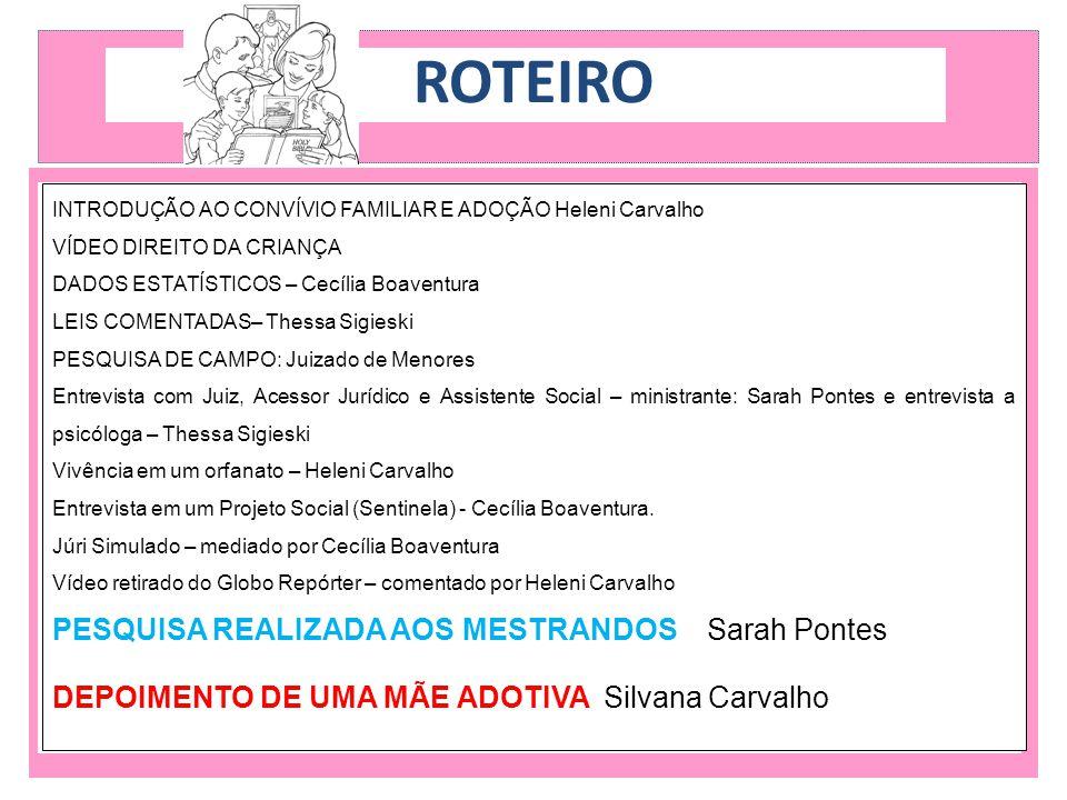 ROTEIRO PESQUISA REALIZADA AOS MESTRANDOS Sarah Pontes