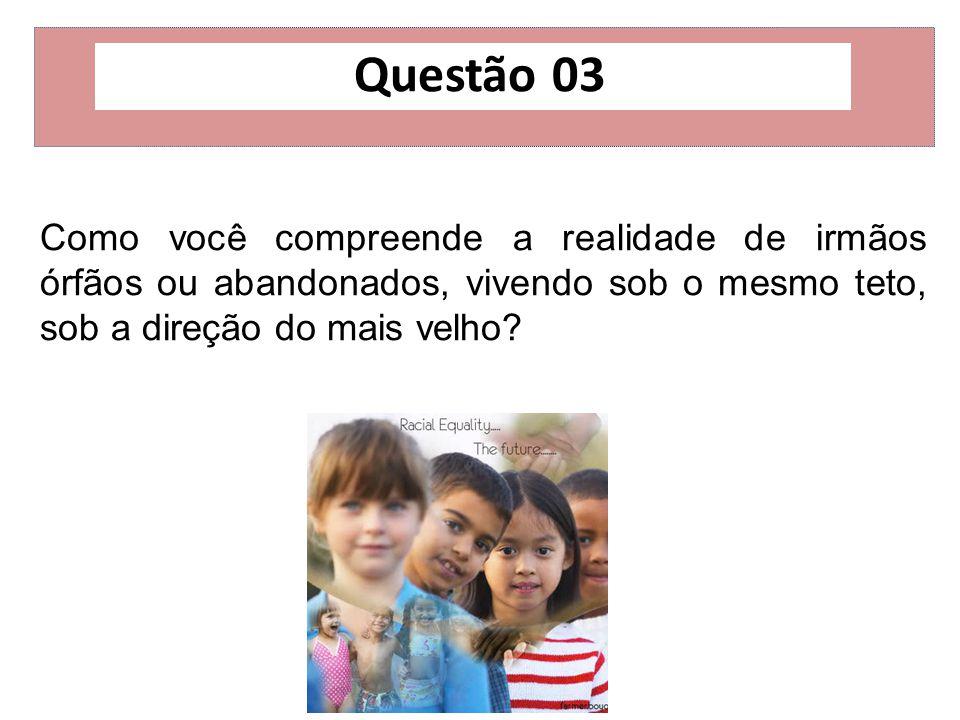 Questão 03 Como você compreende a realidade de irmãos órfãos ou abandonados, vivendo sob o mesmo teto, sob a direção do mais velho