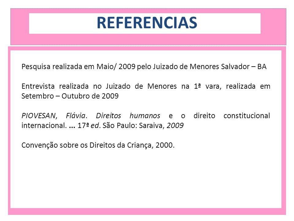 REFERENCIAS Pesquisa realizada em Maio/ 2009 pelo Juizado de Menores Salvador – BA.