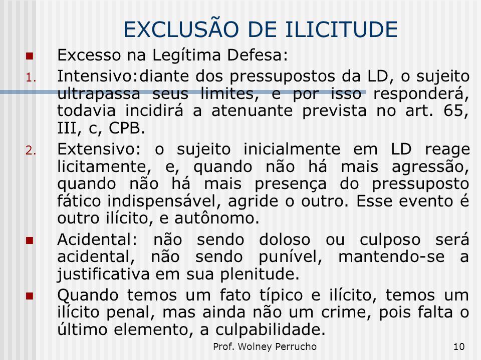EXCLUSÃO DE ILICITUDE Excesso na Legítima Defesa: