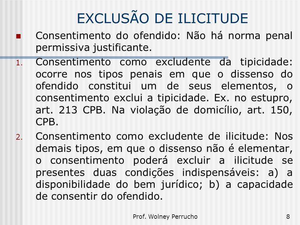 EXCLUSÃO DE ILICITUDE Consentimento do ofendido: Não há norma penal permissiva justificante.