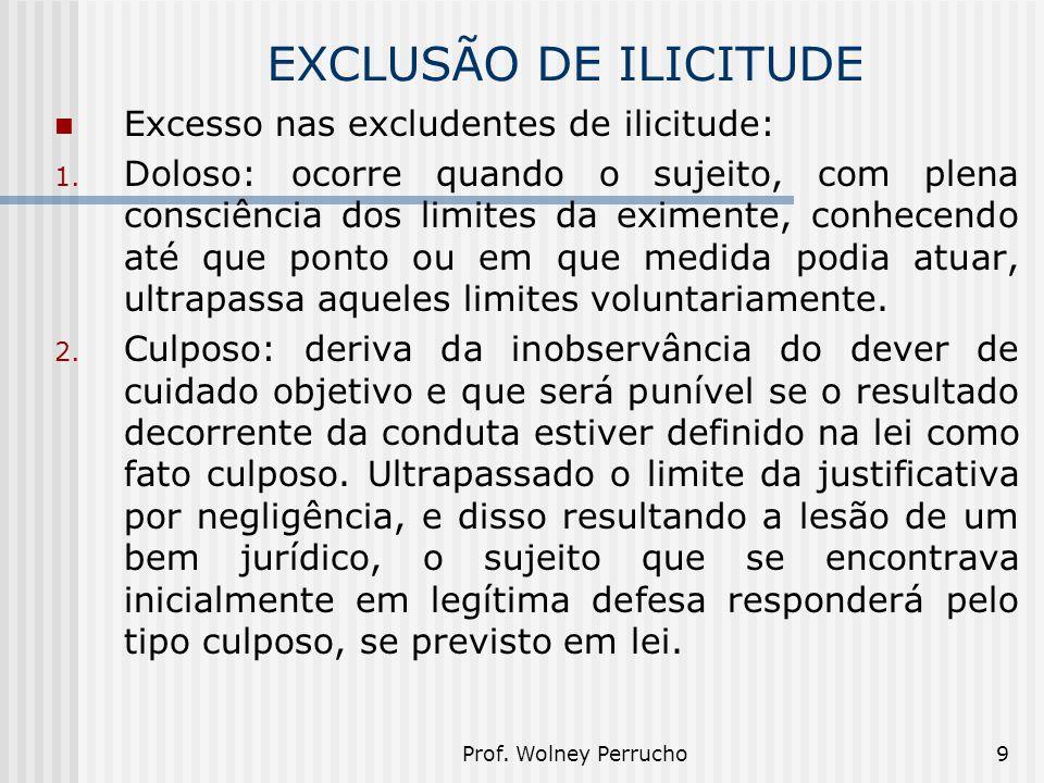 EXCLUSÃO DE ILICITUDE Excesso nas excludentes de ilicitude: