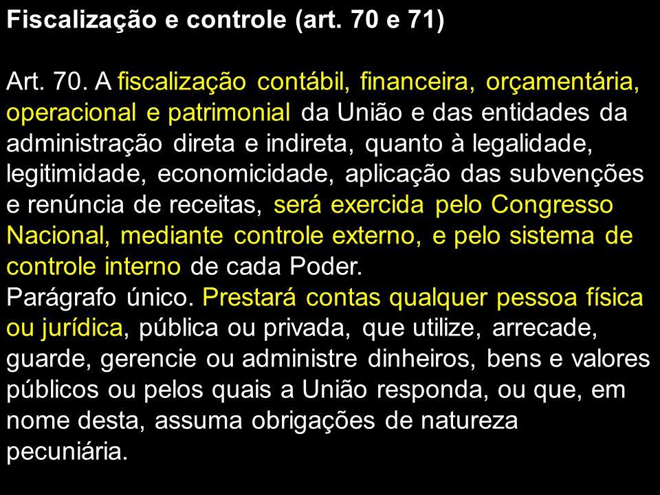 Fiscalização e controle (art. 70 e 71)