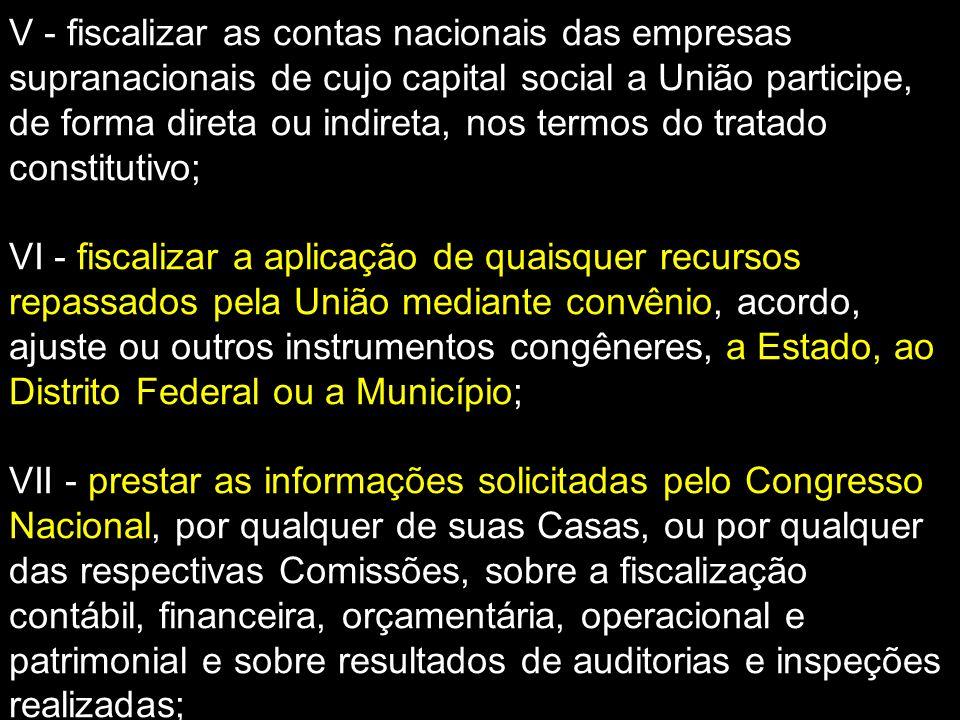 V - fiscalizar as contas nacionais das empresas supranacionais de cujo capital social a União participe, de forma direta ou indireta, nos termos do tratado constitutivo;