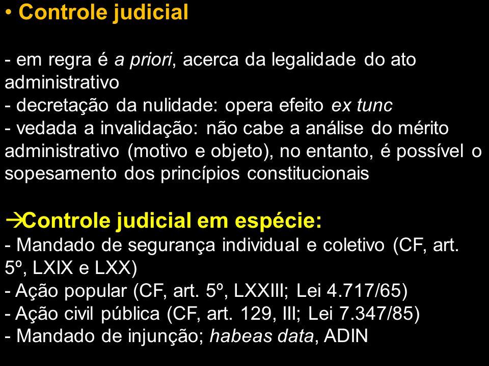 Controle judicial em espécie: