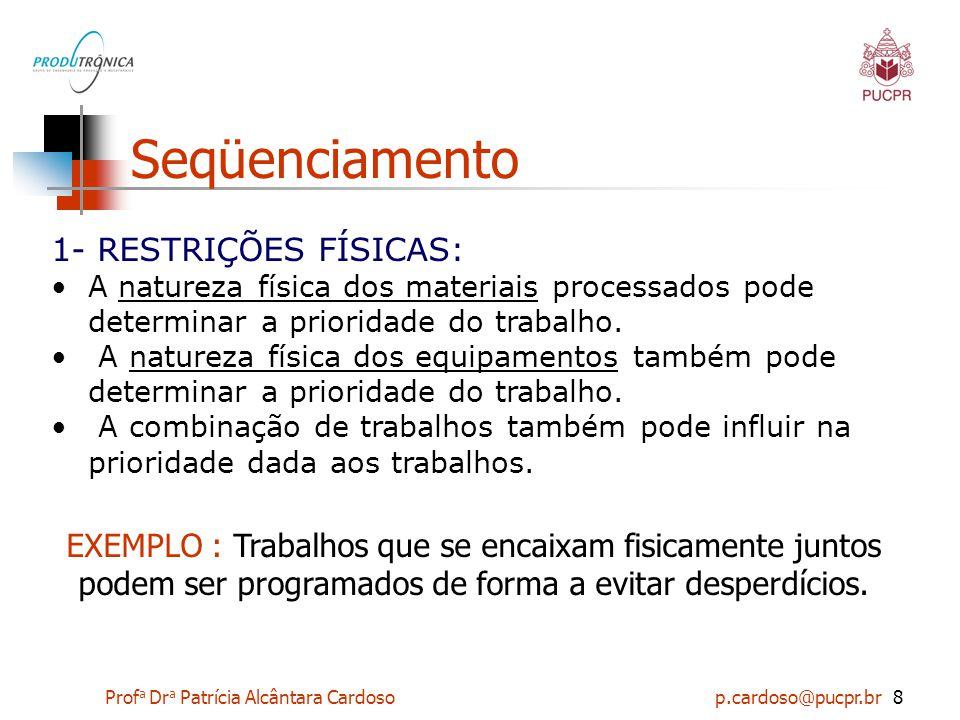 Seqüenciamento 1- RESTRIÇÕES FÍSICAS: