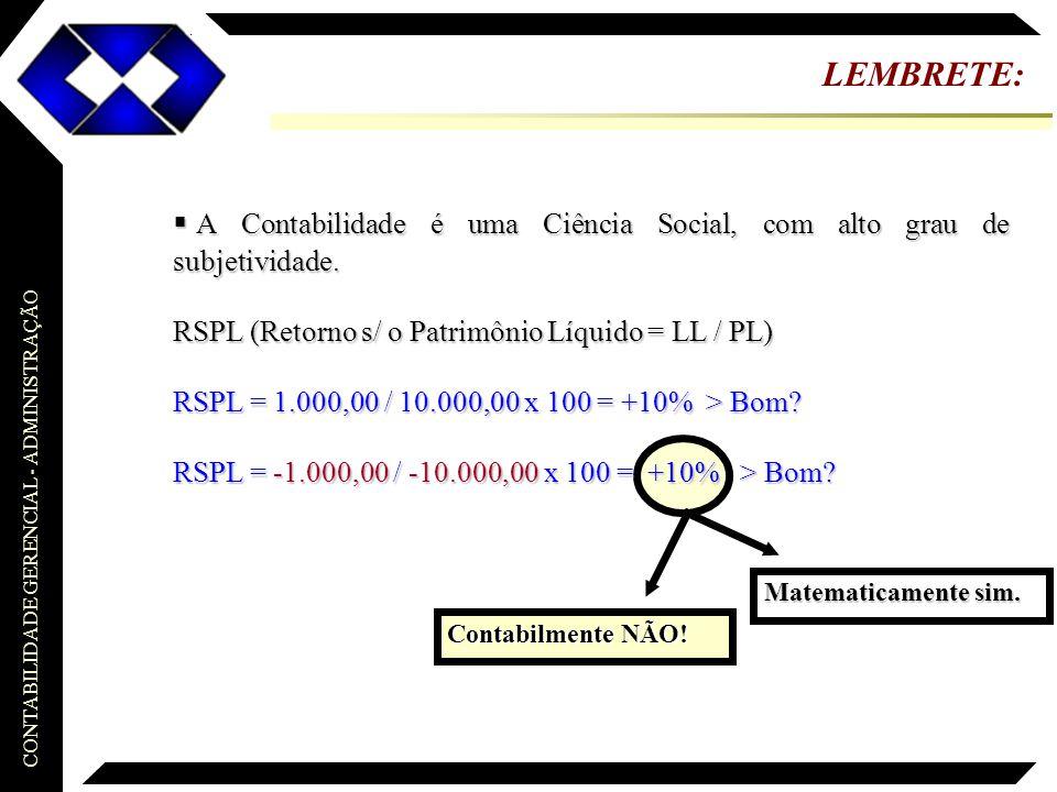 LEMBRETE: A Contabilidade é uma Ciência Social, com alto grau de subjetividade. RSPL (Retorno s/ o Patrimônio Líquido = LL / PL)