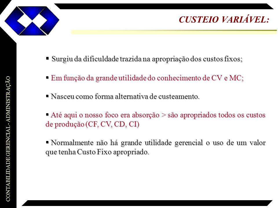 CUSTEIO VARIÁVEL: Surgiu da dificuldade trazida na apropriação dos custos fixos; Em função da grande utilidade do conhecimento de CV e MC;