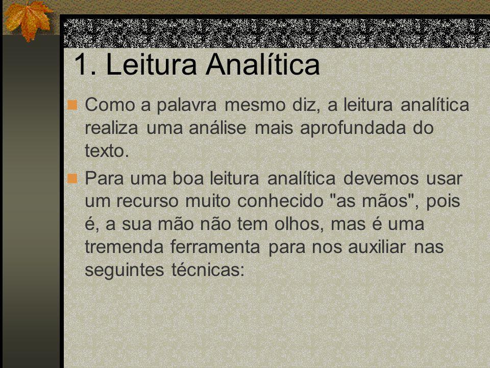 1. Leitura Analítica Como a palavra mesmo diz, a leitura analítica realiza uma análise mais aprofundada do texto.