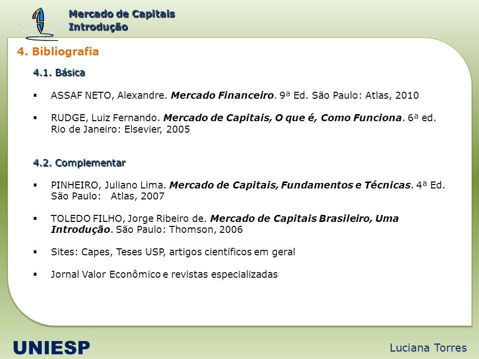 UNIESP 4. Bibliografia Luciana Torres Mercado de Capitais Introdução