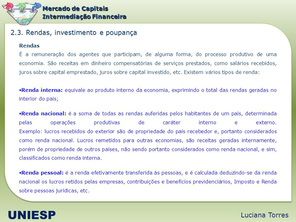 UNIESP 2.3. Rendas, investimento e poupança Luciana Torres